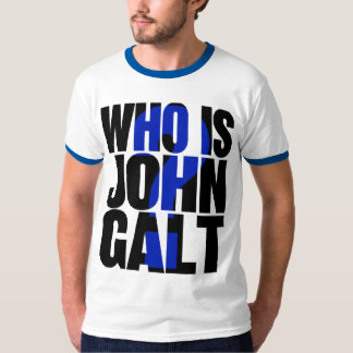 Who is John Galt? t-shirt, blue T-Shirt