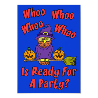 Who Is Ready For A Party Halloween Owl Cartoon Kid Card