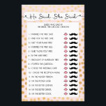 """Who knows bride he said she said gold blush  3983 flyer<br><div class=""""desc"""">This two-sided game sheet can be personalized by adding the bride&#39;s name and shower date.  Please look here for more bridal shower games: http://bit.ly/2vRr4GC</div>"""