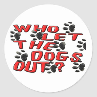 Who Let The Dogs Out (Paw Prints) Classic Round Sticker