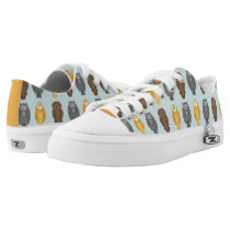 """""""Who Likes Owls?"""" Owl Pattern with Yellow Accents Low-Top Sneakers"""