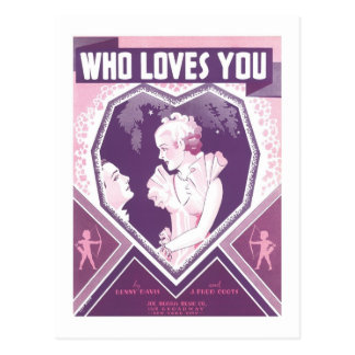 Who Loves Your Vintage Songbook Cover Postcard
