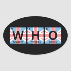 Oval Sticker with Who Made of Elements design