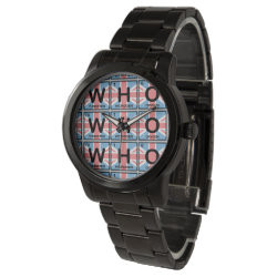 Unisex Oversized Black Bracelet Watch with Who Made of Elements design