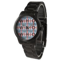 Unisex Oversized Black Bracelet Watch with Who Made of Elements design