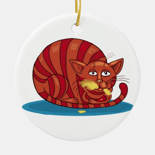 Who Me? Cat Who Ate the Canary Christmas Tree Ornament