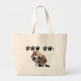 Who me dog paw print large tote bag