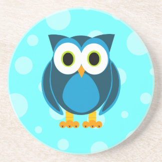 Who? Mr. Blue Owl Blue Background Beverage Coaster