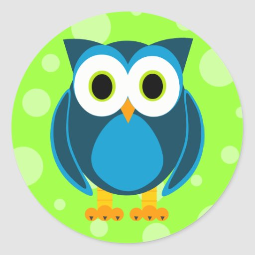 Who? Mr. Owl Cartoon Classic Round Sticker