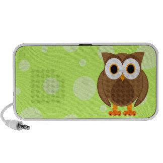 Who? Mr. Owl Cartoon Green with Dots Mini Speaker