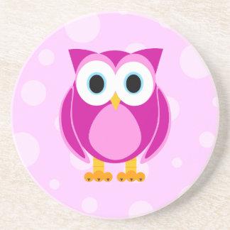 Who? Mrs. Pink Owl Beverage Coasters