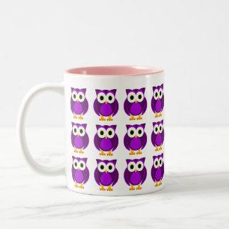 Who? Mrs. Purple Owl Cartoon Two-Tone Coffee Mug