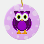 Who? Mrs. Purple Owl Ceramic Ornament