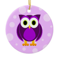 Who? Mrs. Purple Owl Ceramic Ornament