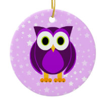 Who? Mrs. Purple Owl Star Background Ceramic Ornament