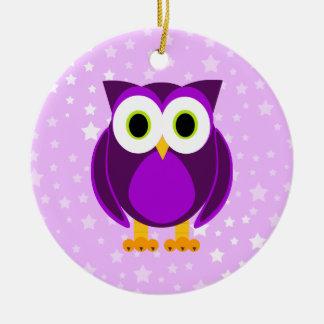 Who? Mrs. Purple Owl Star Background Ceramic Ornament