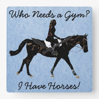 Who Needs a Gym? Fun Horse Square Wall Clock