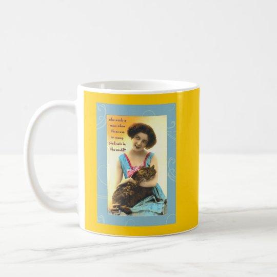 who needs a man so many good cats coffee mug