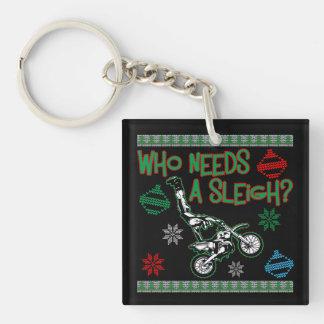 Who Needs A Sleigh Dirtbike Race Christmas Sweater Keychain
