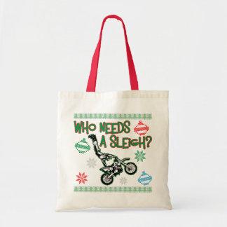 Who Needs A Sleigh Dirtbike Race Christmas Sweater Tote Bag