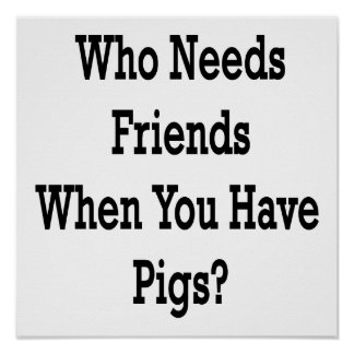 Who Needs Friends When You Have Pigs Poster