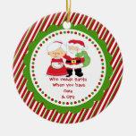 Who Needs Santa. Oma & Opa Grandpa Christmas Double-Sided Ceramic Round Christmas Ornament