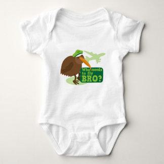 Who needs to fly bro? kiwi bird Humor Baby Bodysuit