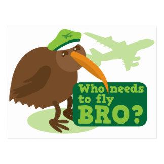 Who needs to fly bro? kiwi bird Humor Postcard