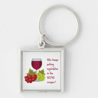 Who put vegetables in the wine crisper?  Funny Win Silver-Colored Square Keychain