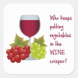 Who put vegetables in the wine crisper?  Funny Win Square Sticker