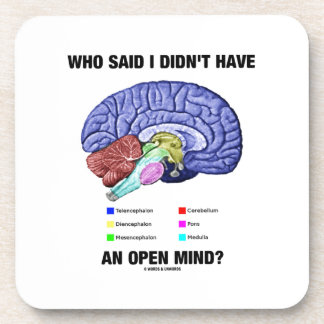 Who Said I Didn't Have An Open Mind? (Brain Humor) Drink Coasters