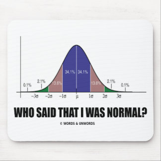 Who Said That I Was Normal? (Bell Curve Humor) Mouse Pad