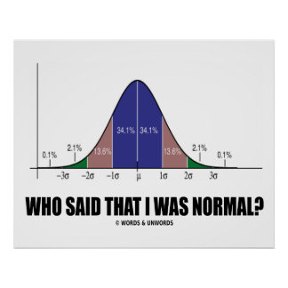 Who Said That I Was Normal? (Bell Curve Humor) Poster