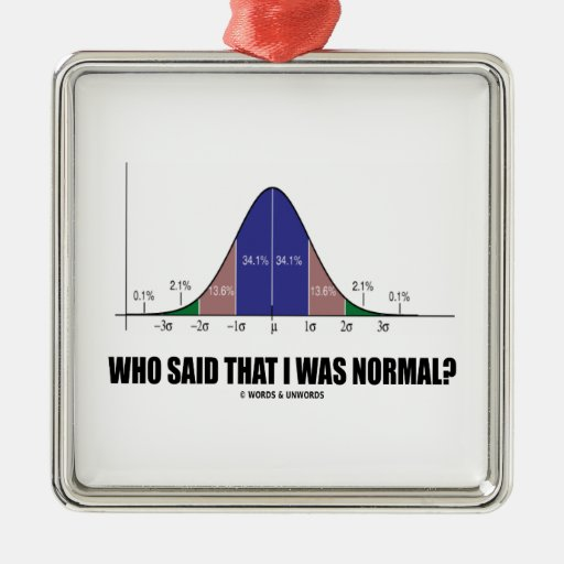 Who Said That I Was Normal? (Bell Curve Humor) Square Metal Christmas Ornament