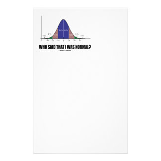 Who Said That I Was Normal Bell Curve Humor Personalized Stationery