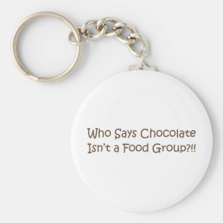 Who Says Chocolate Isn't a Foodgroup Basic Round Button Keychain