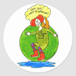 Who says I want to grow up? Classic Round Sticker
