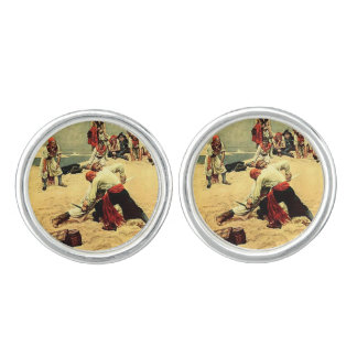 Who Shall Be Captain? pirate art Cufflinks
