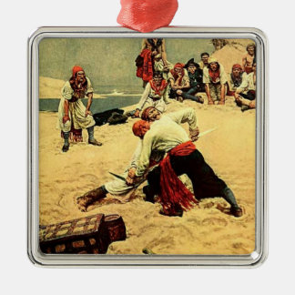 Who Shall Be Captain? - pirate art Square Metal Christmas Ornament