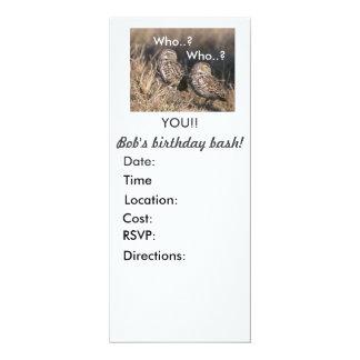 "Who the Owl invites 4"" X 9.25"" Invitation Card"