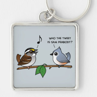 Who the Tweet? Silver-Colored Square Keychain