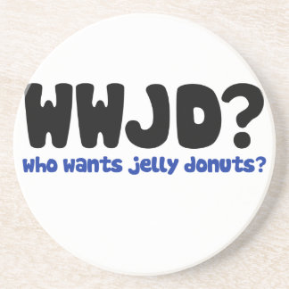 Who wants jelly donuts beverage coaster