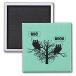 Who Whom Grammar Humor Owls 2 Inch Square Magnet