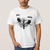 Who Whom Grammar Humor Owls T-Shirt