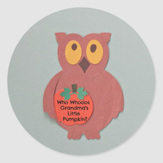 Who Whoos Grandma's Little Pumpkin Classic Round Sticker
