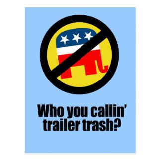 Who you callin' trailer trash postcard