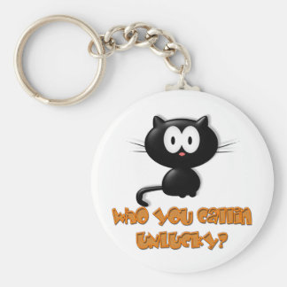 Who You Callin Unlucky Black Cat Basic Round Button Keychain