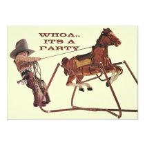 Whoa For Birthday Fun Western Cowboy Invitations