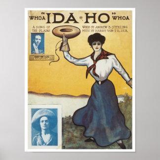 """Whoa """"Ida Ho"""" Whoa Vintage Songbook Cover Poster"""