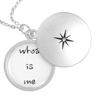 """""""whoa is me""""- choose model/size silver plated necklace"""